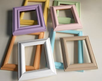 Eight, Vintage, Upcycled, Shabby Chic, Pastel Colors, Picture Frames
