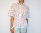 Pink Star Button-Down Shirt OSFA by Limited Express 1990s Retro Seapunk Kawaii