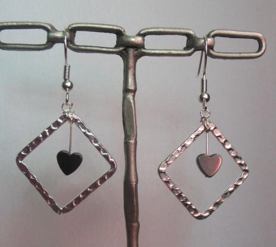 Pretty Sterling Silver & Hematite Heart Dangle Earrings
