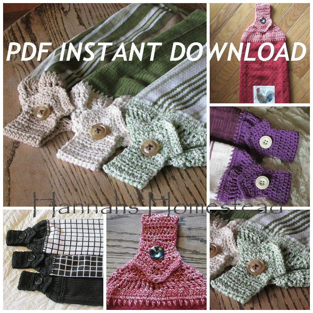 Crochet Patterns Kitchen Towels : Kitchen Towel Top Crochet Pattern Instant by HannahsHomestead2