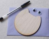 DIY Wooden Cat Face Cards, Kids Project, Gift Idea, Baby Shower Idea, Birch Wood, Lasercut