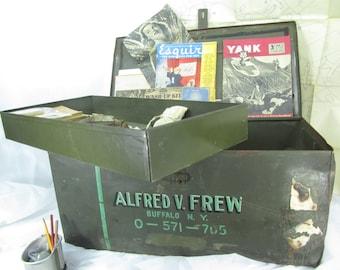 Vintage Metal Footlocker, Military Footlocker, Metal Trunk, Container, Military Trunk, ww2 trunk, Army Air Corps