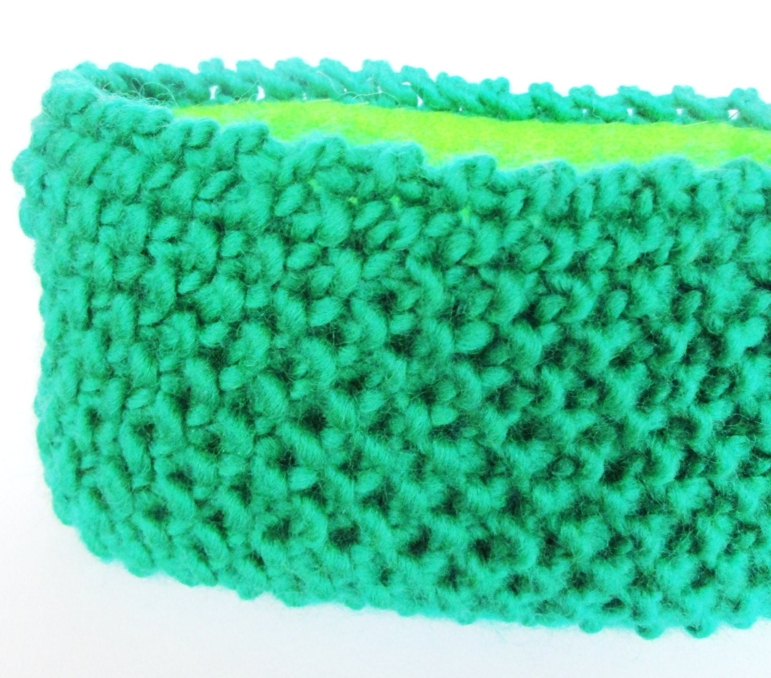 Knitting Pattern Ski Headband : Green knitted headband fleece lined ski accessory by ...