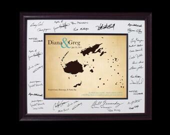 Wedding guest book framed art wedding map wedding Anniversary Gift - Fiji