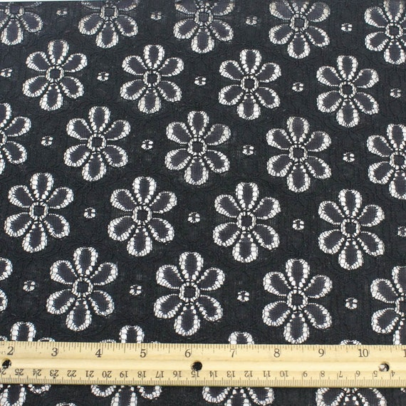 Black nylon cotton eyelet lace fabric by the yard or wholesale for Cheap fabric by the yard
