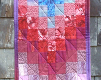 Bargello Table Runner or Wall Hanging in reds, blues, purples