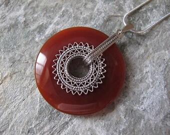 Carnelian Necklace,Silver necklace, Carnelian Silver necklace ,Filigree silver necklace, Ethnic necklace,Israel jewelry