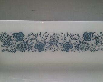 Vintage, Casserole Dish,  Baking Dish, Glassbake, White with Blue Clover Design, RhymeswithDaughter