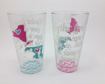 SET OF 2 State to State Country Glass Tumbler Cup Chevron Personalized Birthday Anniversary Bride Wedding Best Friend Long Distance