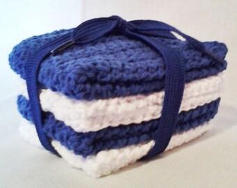 Crochet Team Spirit Wash Cloths/Dish Cloths Bright Blue and White