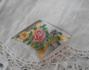 1930's handpainted lucite brooch
