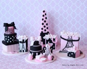 Set of Paris oh la la cupcake/cake toppers