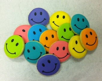 Smiley Face Sugar Cookies ~ Hand-decorated, Freshly Baked, Get Well Gift Cookies, Thank You Gift, Birthday Gift Cookies,