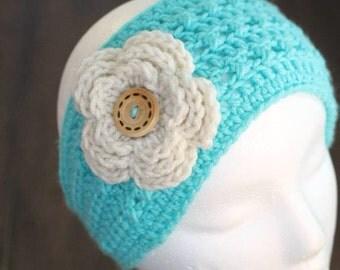 Ear warmer - womens - teen - headband - headwrap - flower ear warmer - crochet headband - winter accessory