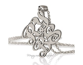 4 Letter Monogram Necklace - 925 Sterling Silver - Personalized Monogram on any size