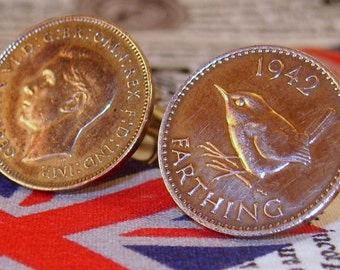 Boxed Pair Vintage British 1942 Farthing Coin Cufflinks Wedding 75th Birthday