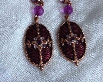 Deep Maroon Cloisonne' Copper Trimmed Pierced Earrings