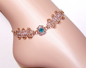 Anklet bracelet, chainmail anklet, chainmaille ankle bracelet, crystal ankle bracelet, Swarovski elements, flower anklet, byzantine romanov