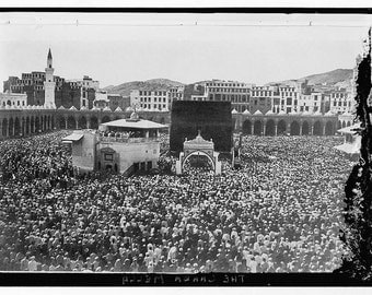 Mecca, Saudi Arabia, Muslim Pilgrims- Middle East 1800s  Old Photo Print