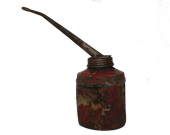 Vintage Metal Motor Oil Bottle Recipe Red Rusted Canister