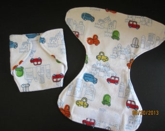 Cars and Trucks Flannel Doll diaper