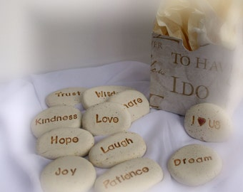6 small sanskrit word stones mantra zen art yogi gift box Zen Wedding Gifts personalized wedding gift message stones, made to order, ooak wedding favors ~ wedding gift zen wedding gifts