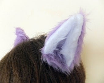 Lilac Purple Wolf Fox Ears on Hair Clips Halloween Costume Festival Fursuit Cosplay Furry