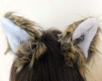 Luxury Long Brown Furry Cosplay Fox Wolf Ears Hair Clips Headband Kawaii Neko Cat Kitty Halloween Costume Festival Fursuit Christmas