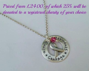Sterling silver awareness ribbon necklace with a donation made to a charity of your choice