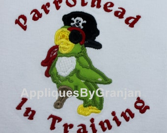 Parrothead in Training Bodysuit with Pirate Parrot for Boys or Girls