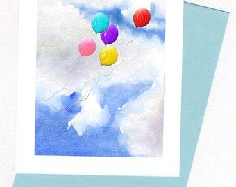 Balloons Birthday  Card Original Watercolor