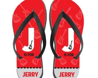Kids Personalized Flip Flops - Red Guitar Monogram, Custom Flip Flops