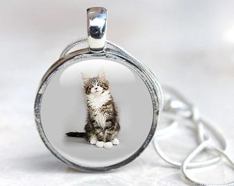 Cat Necklace -  cat jewelry, cat pendant, Cat gifts for her - Tabby Cat Necklace - Glass Pendant Necklace (CAT 22)