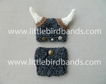 Handmade, Crochet Viking Hat and Matching diaper cover, Newborn viking outfit, Viking hat, Photo Prop
