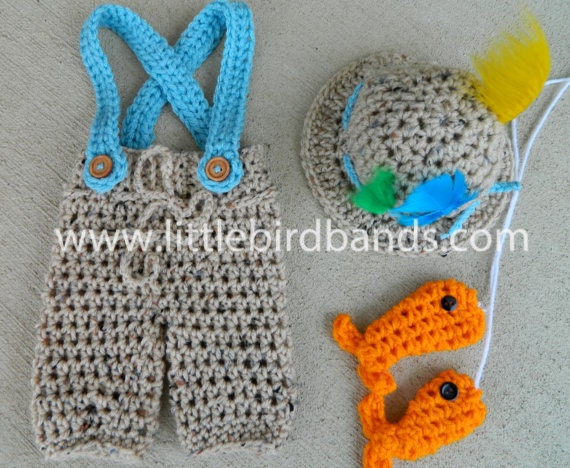 Handmade crochet fishing outfit newborn by littlebirdbands for Baby fishing outfit