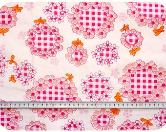 Floral retro vintage fabric with gingham pattern - pink and orange