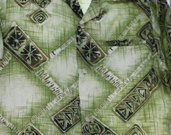 Vintage Mens 1950s 1960s Tropical Hawaiian Green Shirt Darian