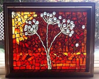 Mosaic Glass Dandelions