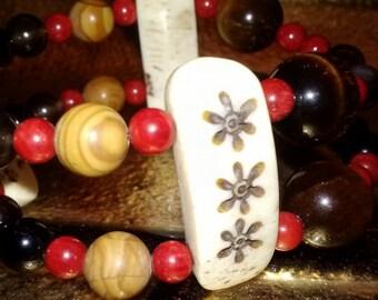 Stretch Bracelet~~Tiger Eye Bracelet~~Bone Bracelets~~SomethingXquisite Jewelry~~Beaded Bracelets~~Beaded Jewelry~~Childrens Bracelet~Ethnic