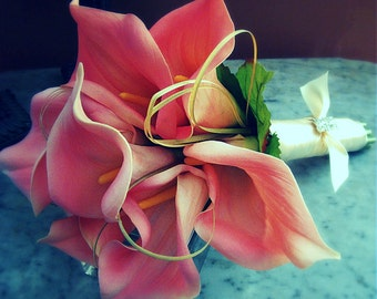 Wedding bouquet, Pink Calla Lily Bouquet , Pink Wedding Bouquet, Real Touch bouquet