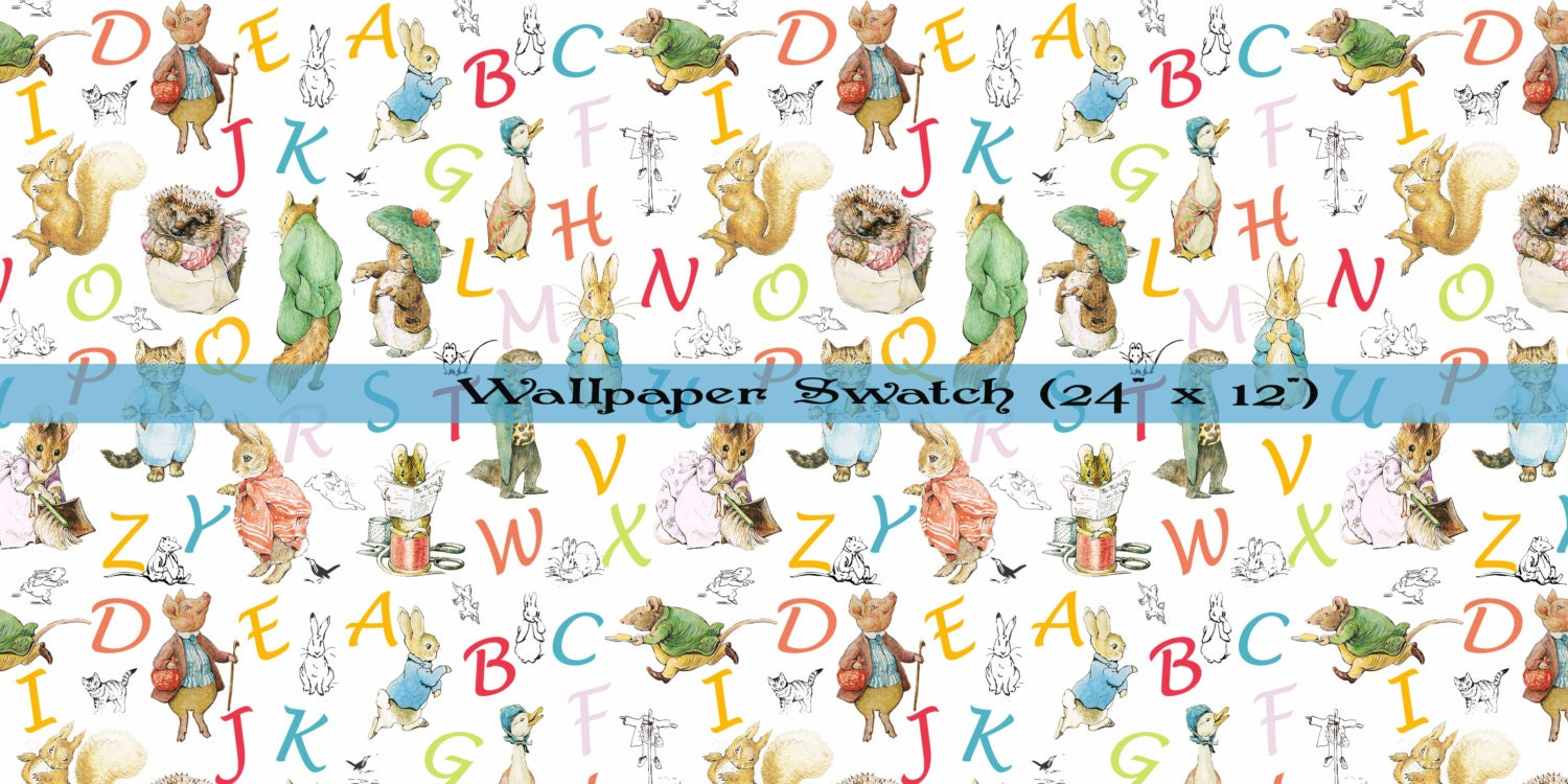 beatrix potter wallpaper et papier peint alphabet stickers. Black Bedroom Furniture Sets. Home Design Ideas