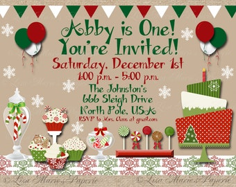 christmas birthday party invitation, handmade digital invite, christmas party invite, christmas invite - Digital File - DIY PRINTABLE