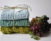 Hand Knit Cloth, Knit Dish Rag,Cotton Dishcloths