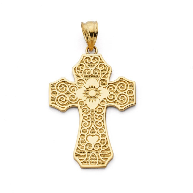 14k solid gold cross pendant cross pendant cross solid