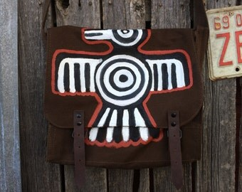 Hand Painted Aztec Bird Brown Canvas Messenger Bag, Cross Body Bag, Shoulder Bag, iPad Bag, Travel Bag, Work Bag, Boho Bag,Tribal,Canvas Bag
