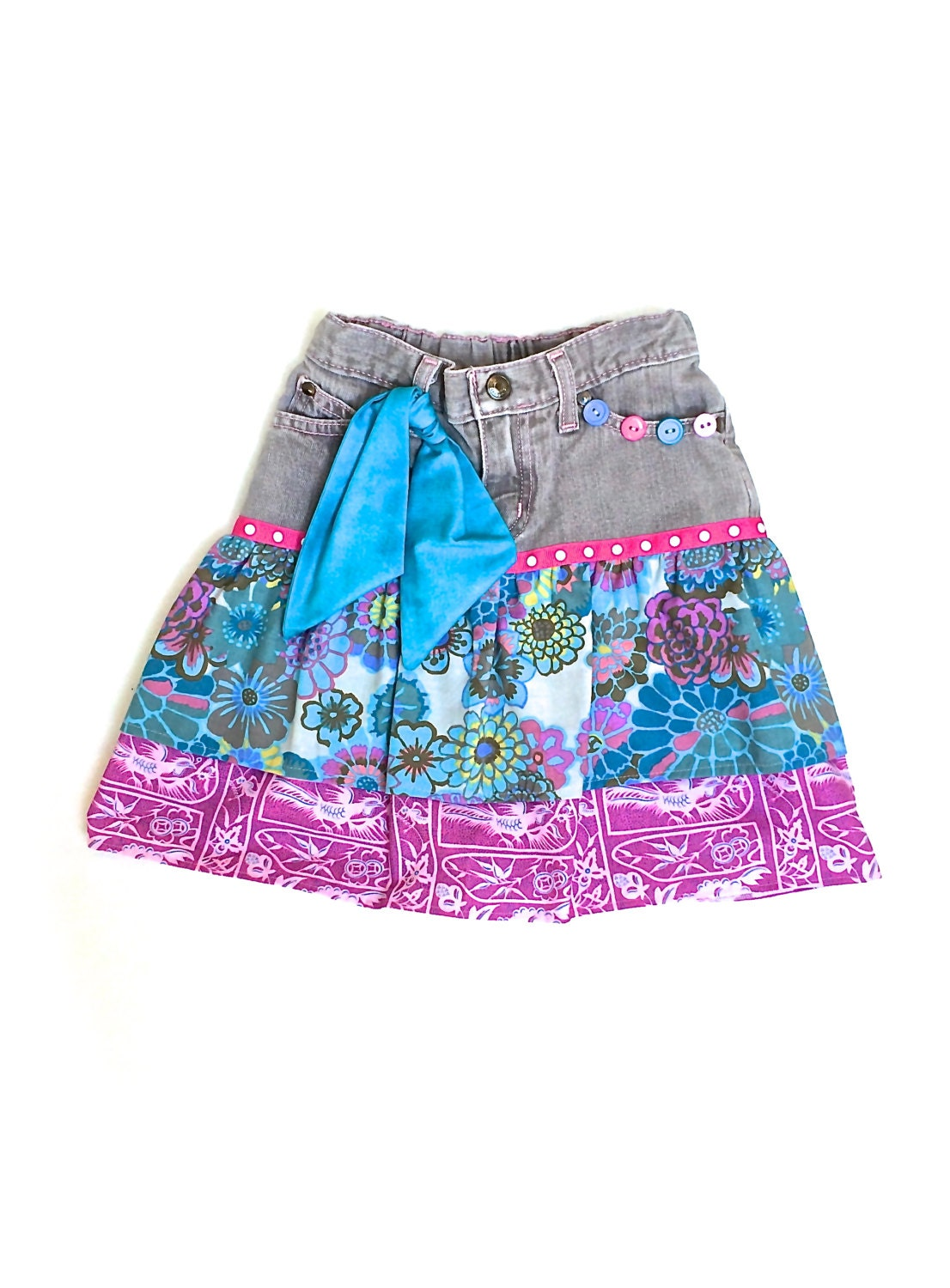 upcycled denim skirt pink and blue size 6 by