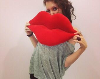 Shaped handmade hot lips pillow / cushion. Home decor. Red cotton velvet.