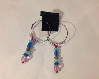 Blue and Pink Hoop Earrings