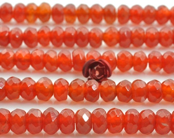 96 pcs of Natural Carnelian faceted rondelle beads in 4x6mm