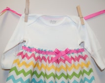 Pastel Chevron Baby Dress, Chevron Baby Gown, Newborn Chevron Dress, Going Home Outfit, Baby Hospital Dress, Easter Baby Dress
